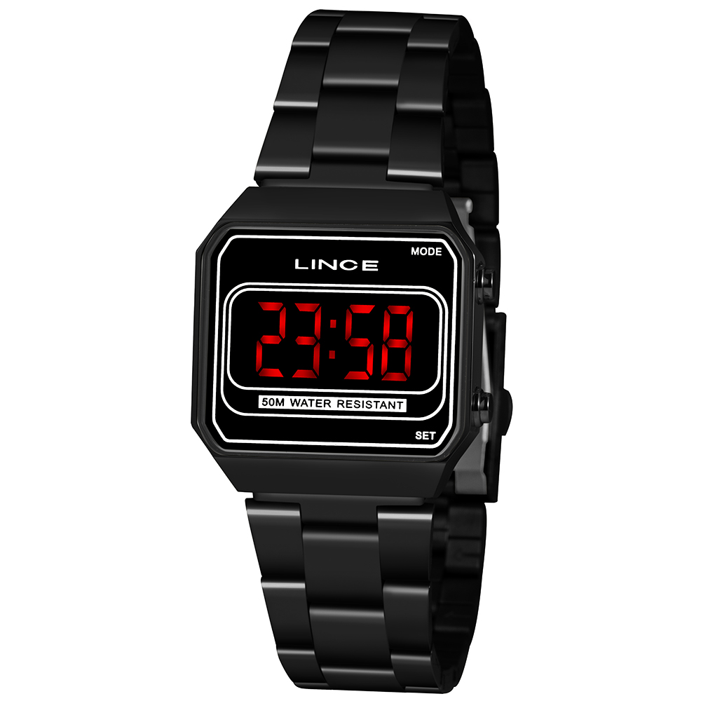 Relógio Lince Vintage Preto com Led Vermelho - MDN4645L