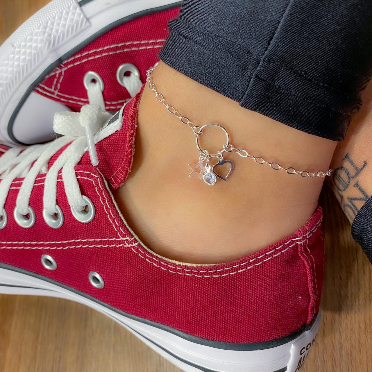 Tornozeleira de Prata Circulo com Estrela, Coração e Zircônia