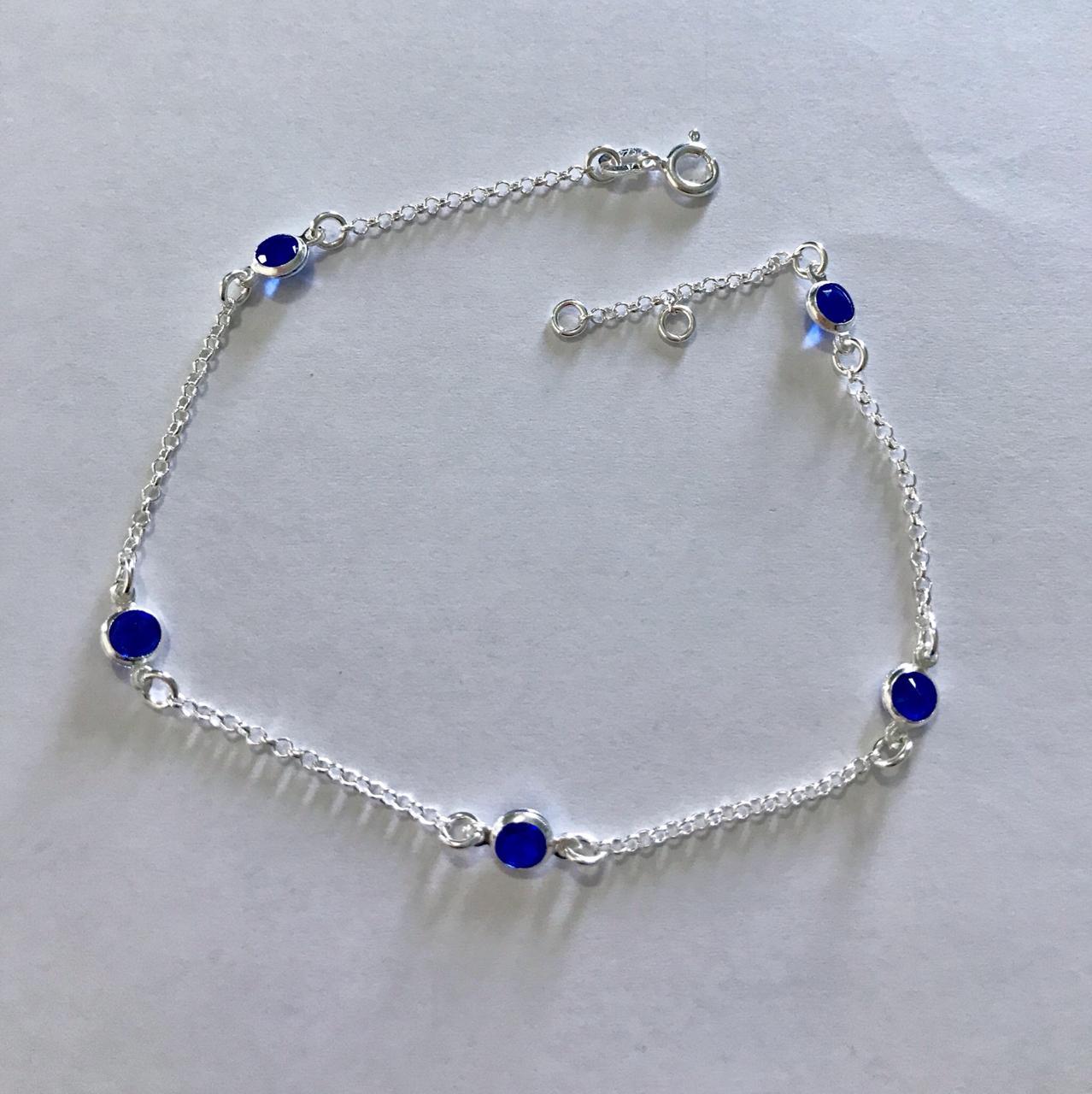 Tornozeleira de Prata Zircônia Azul