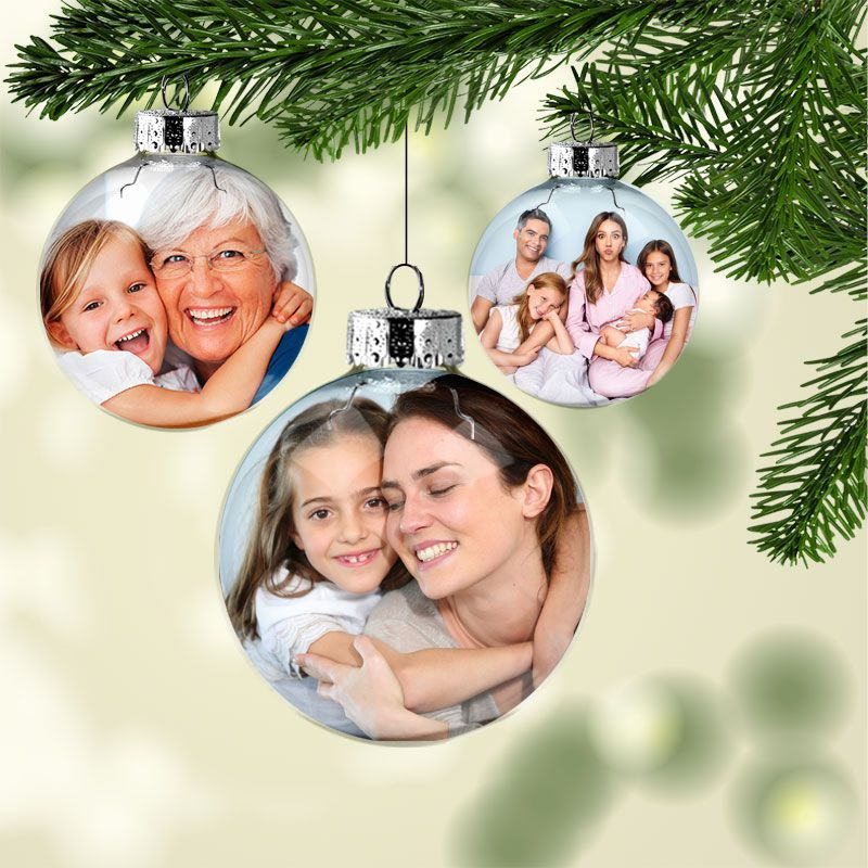 10 Bolas Acrílicas de Natal Personalizadas C/ Foto   - PLACT ZUM