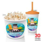 20 Combos Cineminha Balde de Pipoca + Copo com Tampa+Canudo