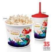 35 Combos Cineminha Balde de Pipoca + Copo com Tampa+Canudo