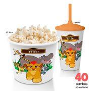 40 Combos Cineminha Balde de Pipoca + Copo com Tampa+Canudo