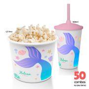 50 Combos Cineminha Balde de Pipoca + Copo com Tampa+Canudo