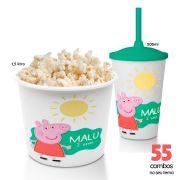 55 Combos Cineminha Balde de Pipoca + Copo com Tampa+Canudo