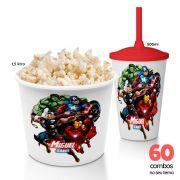 60 Combos Cineminha Balde de Pipoca + Copo com Tampa+Canudo