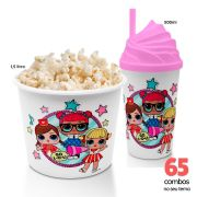 65 Combos Cineminha Balde de Pipoca + Copo com Tampa+Canudo