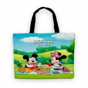 Bolsinha De Nylon Picnic Do Mickey E Minnie Personalizada