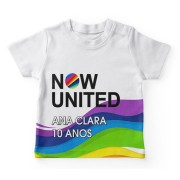 Camiseta Infantil Festa Now United Lembrancinha Kit com 50