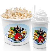 Combo Cineminha Angry Birds Balde De Pipoca E Copo Chantilly Lembrancinha Festa De Aniversário