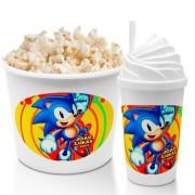 Combo Cineminha Sonic Balde De Pipoca E Copo Chantilly Lembrancinha Festa De Aniversário