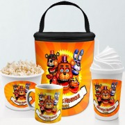 Kit Presente Festa Five Nights Frasqueira Balde Copo Caneca