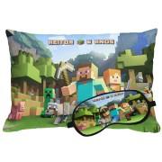 Kit Soninho Minecraft Almofada E Máscara Para Dormir Personalizados