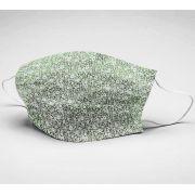 Mascara de Algodão em Tricoline Dupla Camada Reutilizável  ref. 062 flores fd verde