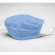 Mascara de Algodão em Tricoline Dupla Camada Reutilizável  ref. 067 poa fd azul