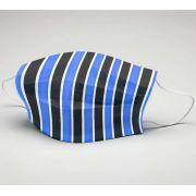 Mascara de Tecido Tactel Dupla Camada Reutilizável  ref. Futebol Azul Branco e Preto vrt