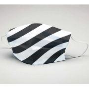 Mascara de Tecido Tactel Dupla Camada Reutilizável  ref. Futebol Preto e Branco dgn