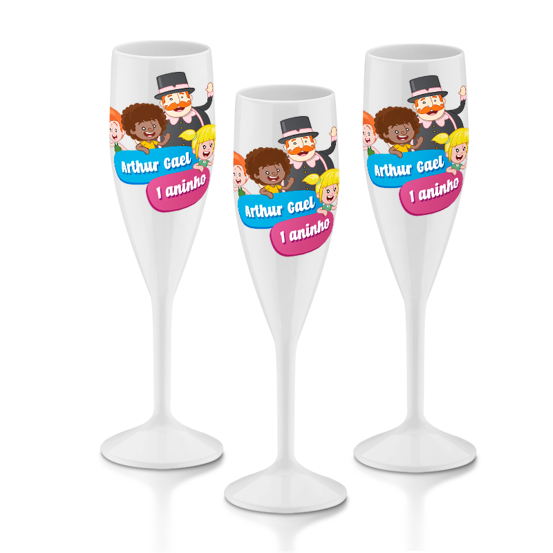 20 Taças de Champagne 160 ml Personalizadas P/Festa  - PLACT ZUM