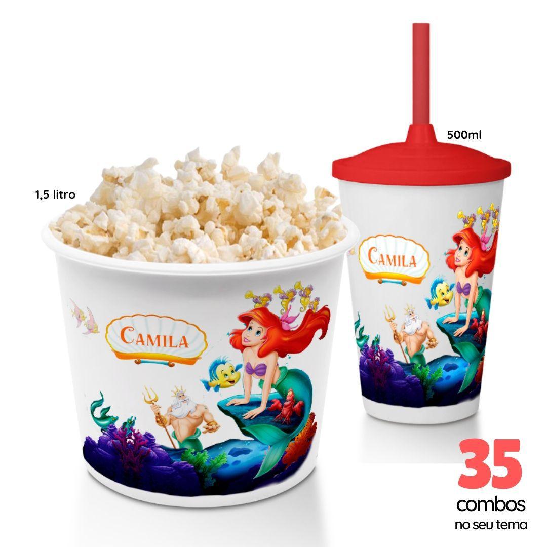 35 Combos Cineminha Balde de Pipoca + Copo com Tampa+Canudo  - PLACT ZUM