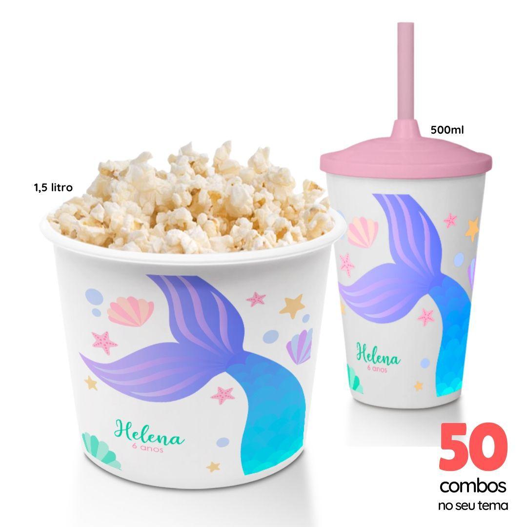 50 Combos Cineminha Balde de Pipoca + Copo com Tampa+Canudo  - PLACT ZUM