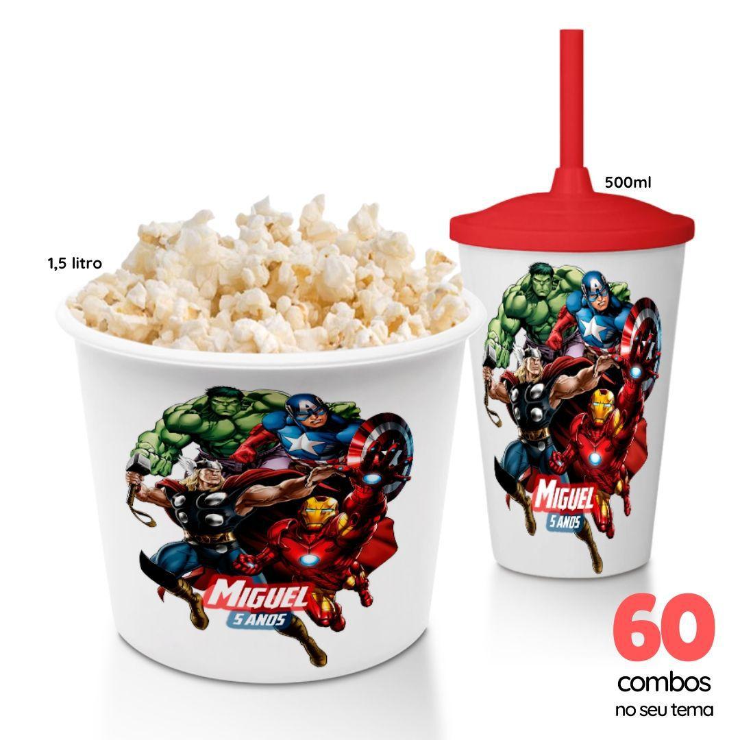 60 Combos Cineminha Balde de Pipoca + Copo com Tampa+Canudo  - PLACT ZUM