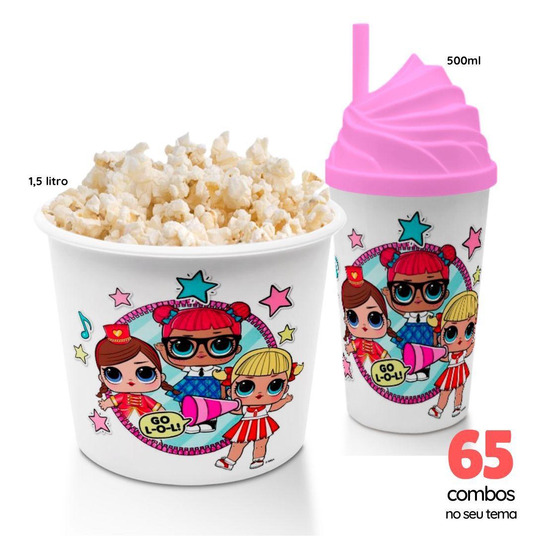 65 Combos Cineminha Balde de Pipoca + Copo com Tampa+Canudo  - PLACT ZUM