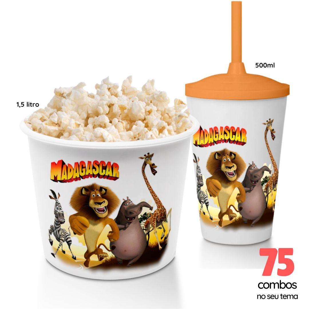 75 Combos Cineminha Balde de Pipoca + Copo com Tampa+Canudo  - PLACT ZUM