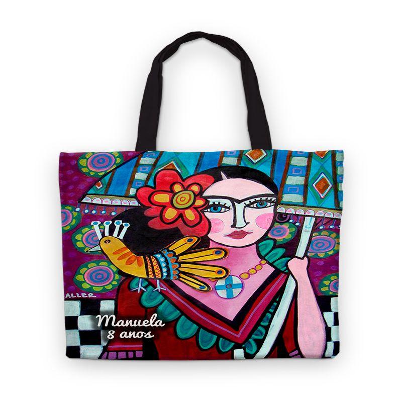 Bolsinha De Nylon Frida Kahlo Personalizada  - PLACT ZUM