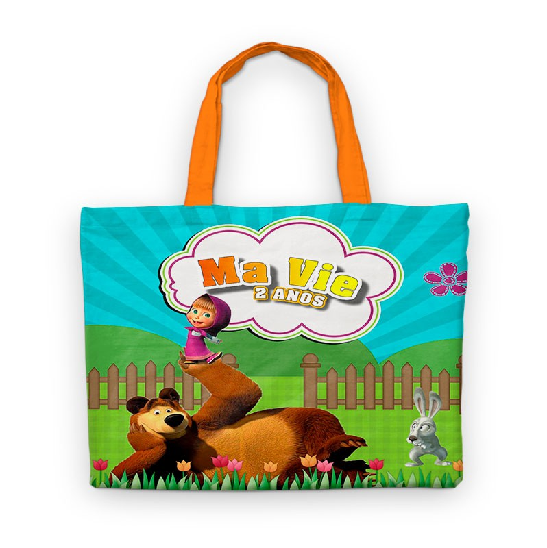 Bolsinha De Nylon Masha E O Urso Personalizada  - PLACT ZUM