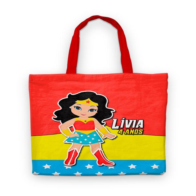 Bolsinha De Nylon Mulher Maravilha Personalizada  - PLACT ZUM