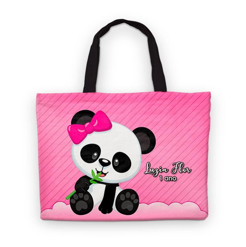 Bolsinha De Nylon Panda Rosa Personalizada  - PLACT ZUM