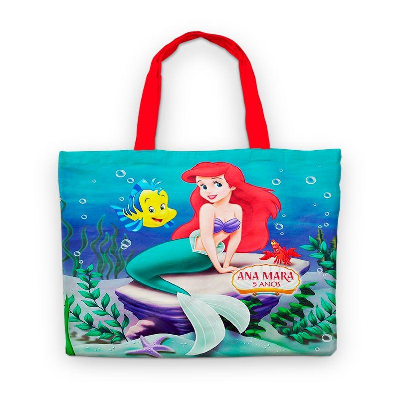 Bolsinha De Nylon Pequena Sereia Ariel Personalizada  - PLACT ZUM