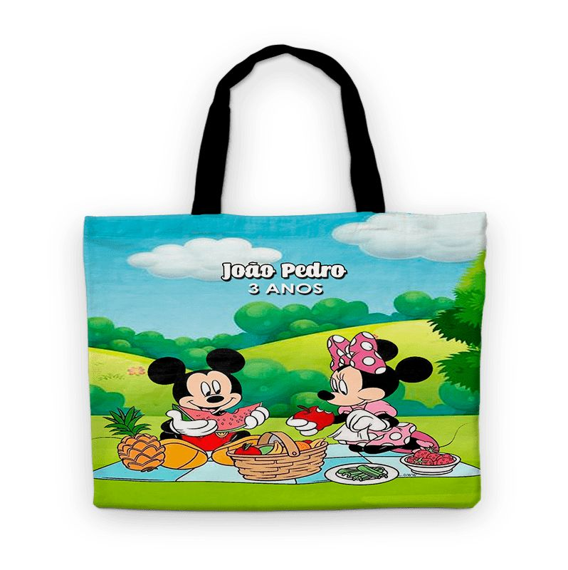 Bolsinha De Nylon Picnic Do Mickey E Minnie Personalizada  - PLACT ZUM