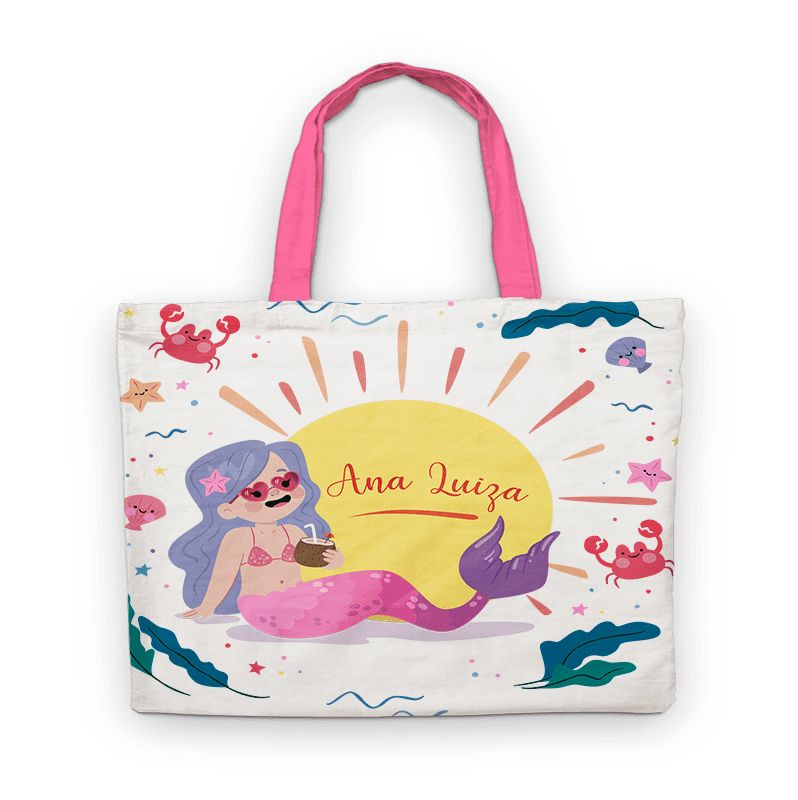 Bolsinha De Nylon Sereia Summer Personalizada  - PLACT ZUM