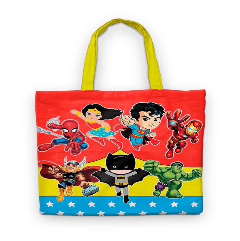 Bolsinha De Nylon Super Heróis Kids Personalizada  - PLACT ZUM