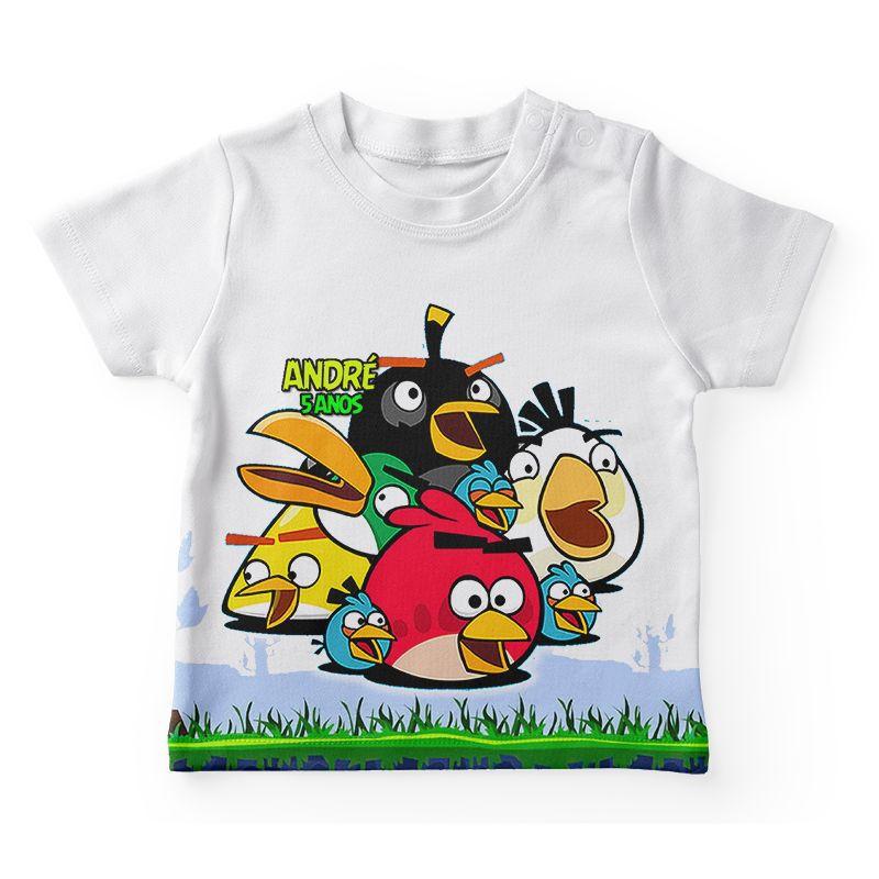 Camiseta Infantil Festa Angry Birds Lembrancinha  - PLACT ZUM