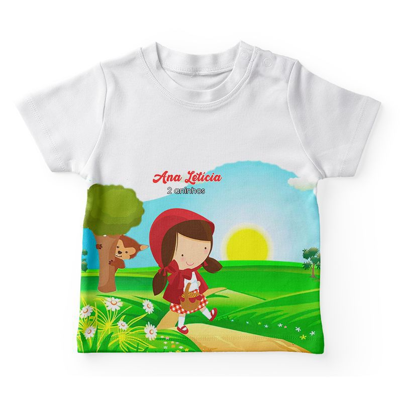 Camiseta Infantil Festa Chapeuzinho Vermelho Lembrancinha  - PLACT ZUM