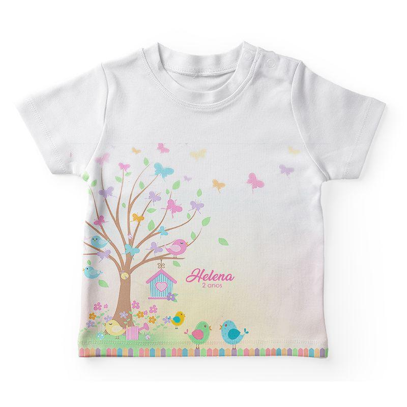 Camiseta Infantil Festa Jardim Encantado Lembrancinha  - PLACT ZUM