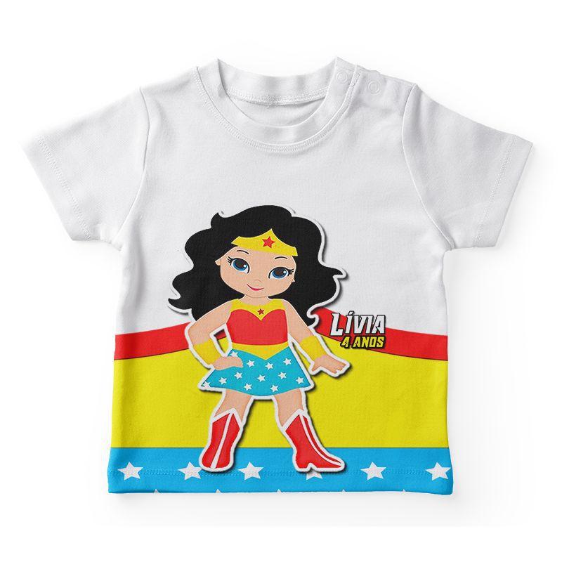 Camiseta Infantil Festa Mulher Maravilha Lembrancinha  - PLACT ZUM