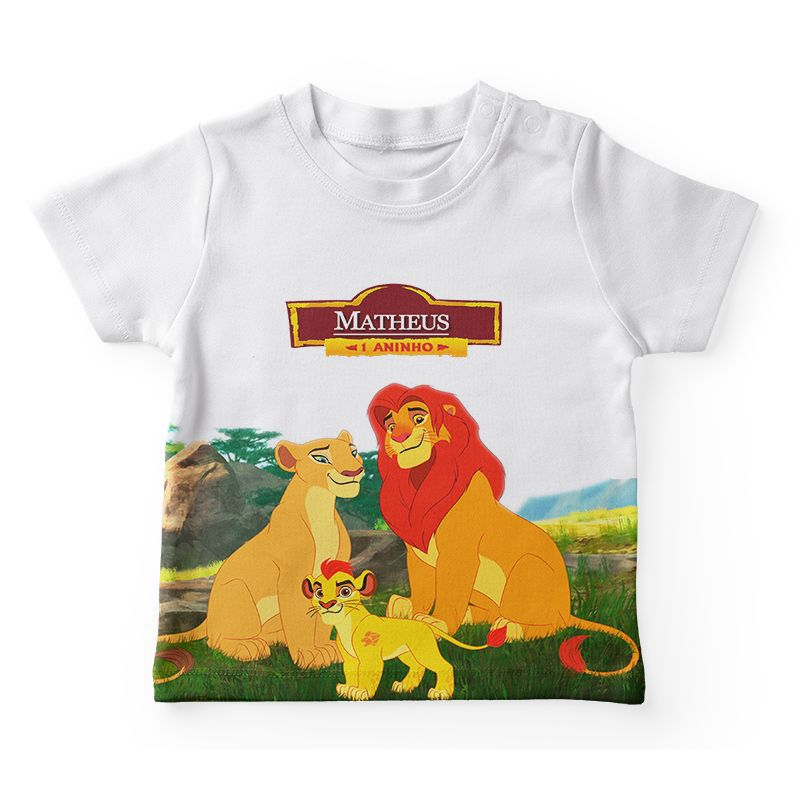 Camiseta Infantil Festa Rei Leão Lembrancinha  - PLACT ZUM