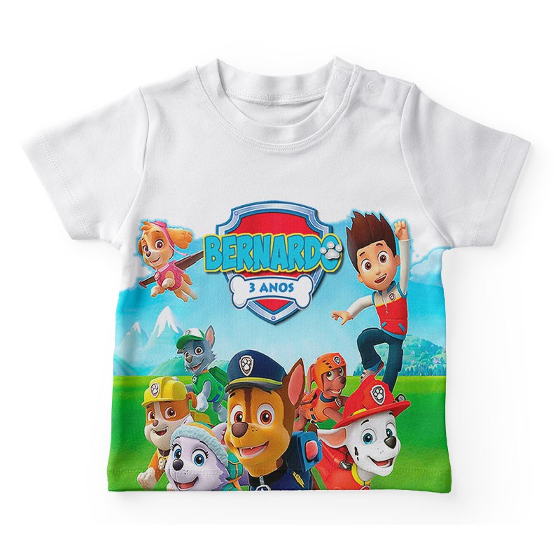 Camiseta Infantil Festa Patrulha Canina  Kit com 50  - PLACT ZUM