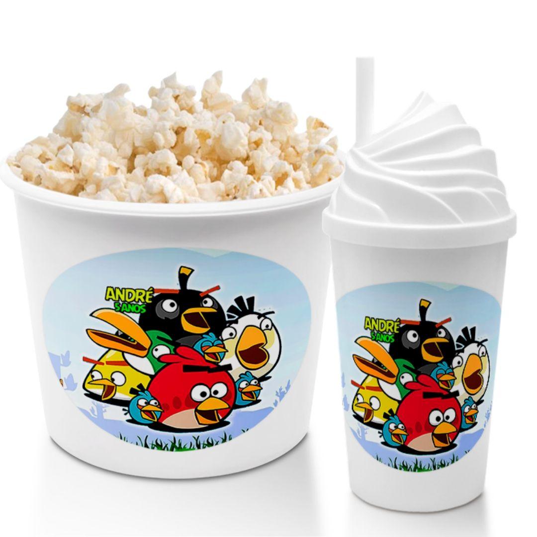 Combo Cineminha Angry Birds Balde De Pipoca E Copo Chantilly Lembrancinha Festa De Aniversário  - PLACT ZUM
