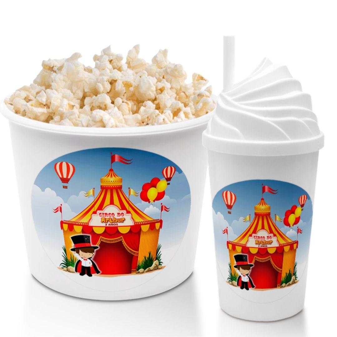 Combo Cineminha Circo Balde De Pipoca E Copo Chantilly Lembrancinha Festa De Aniversário  - PLACT ZUM