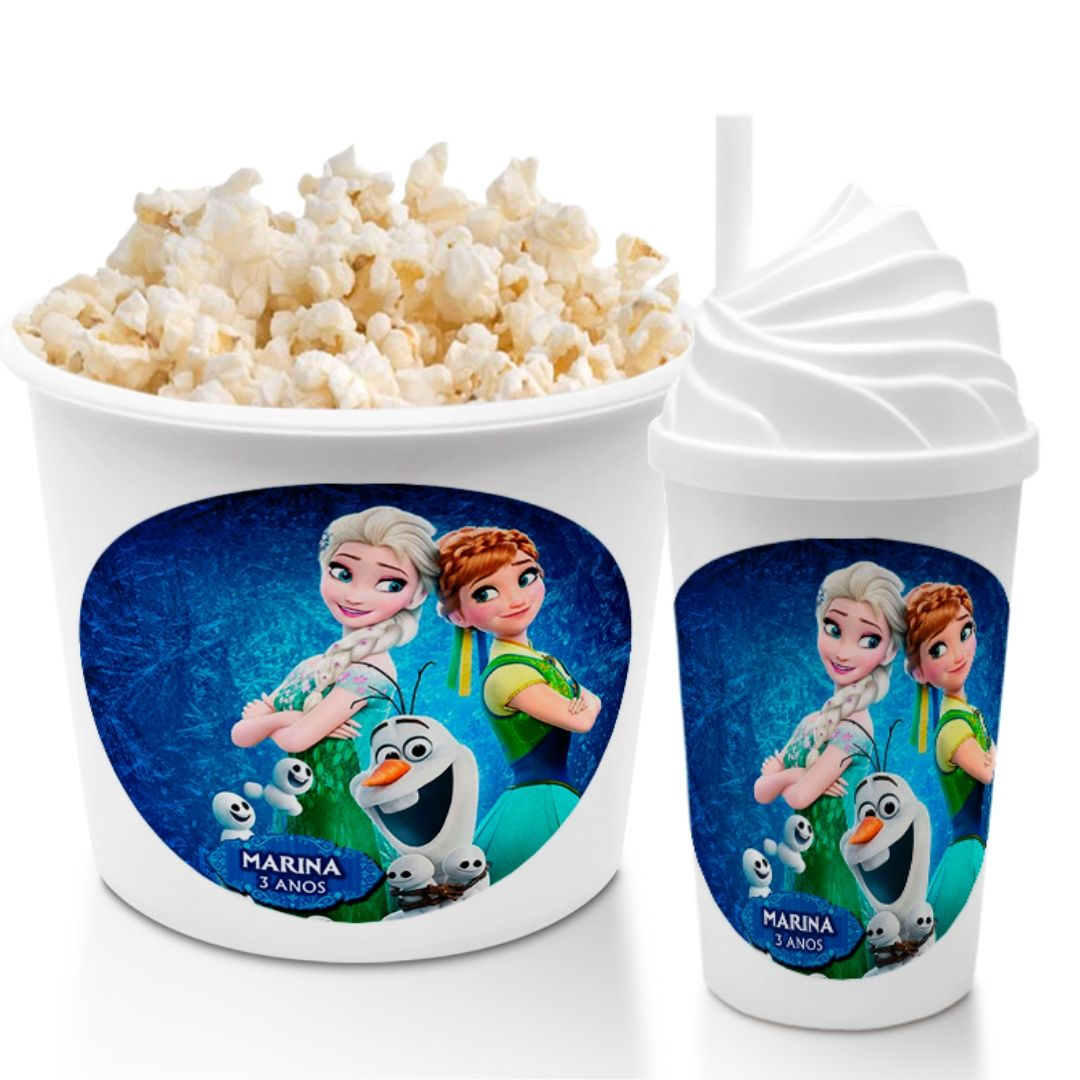 Kit Cineminha Festa Frozen Balde Copo Lembrancinha  - PLACT ZUM