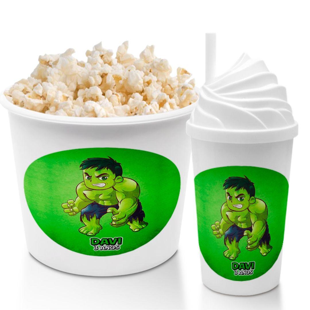 Kit Cineminha Festa Hulk Balde Pipoca Copo Lembrancinha  - PLACT ZUM