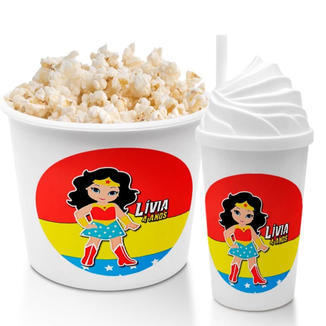 Kit Cineminha Festa Mulher Maravilha Balde Pipoca Copo  - PLACT ZUM
