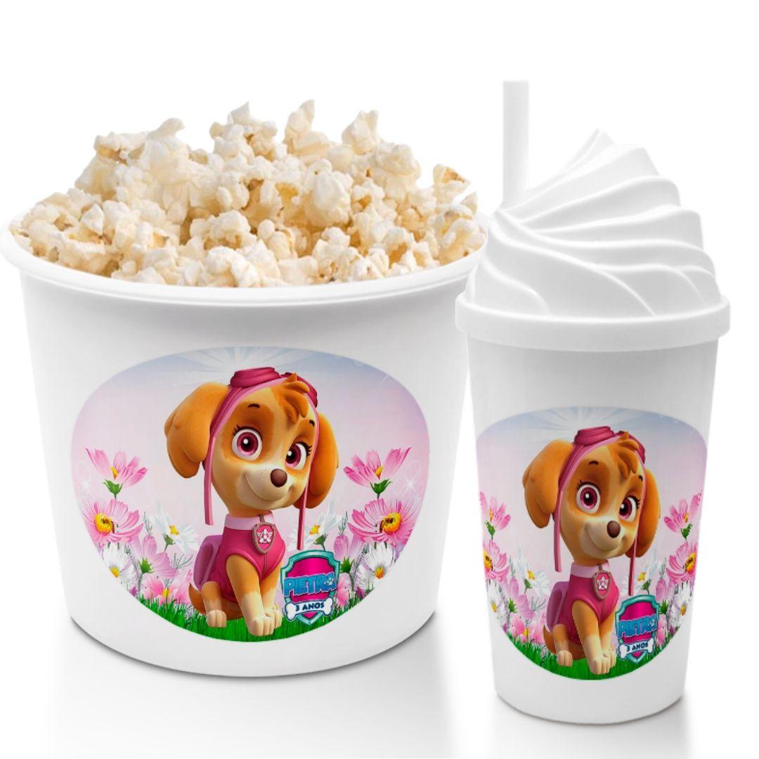 Combo Cineminha Patrulha Canina Skye Balde De Pipoca E Copo Chantilly Lembrancinha Festa De Aniversário  - PLACT ZUM