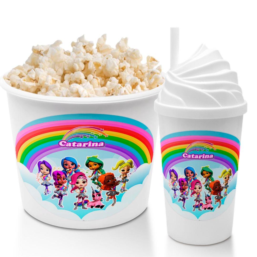 Kit Cineminha Festa Rainbow Rangers Balde Pipoca Copo  - PLACT ZUM