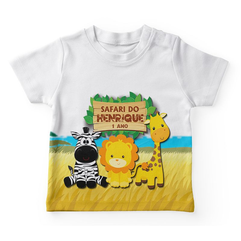 Camiseta Infantil Festa Safari Lembrancinha  - PLACT ZUM