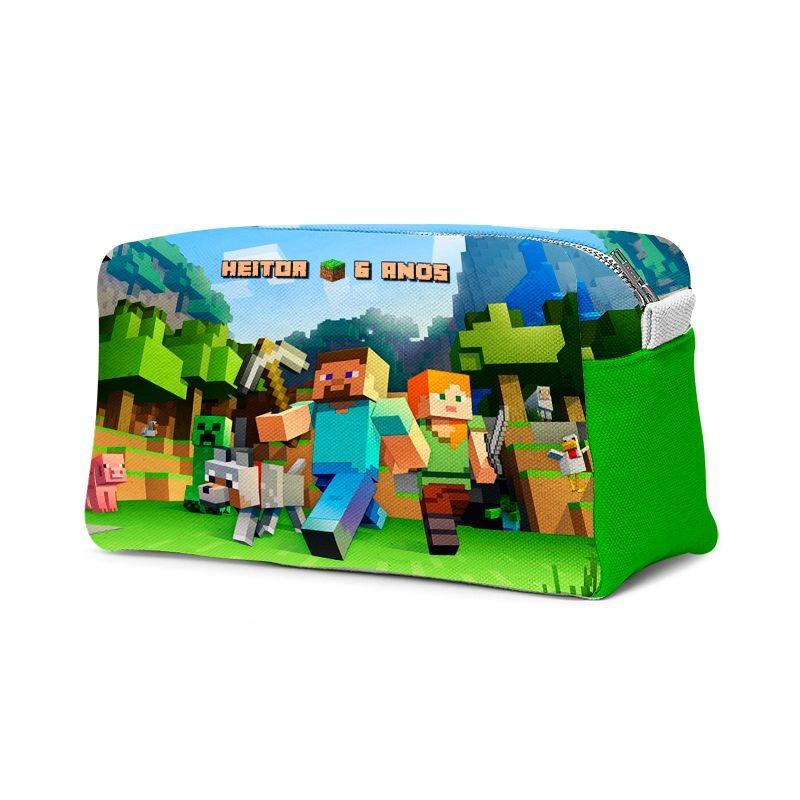 Estojo Necessaire Festa Minecraft Lembrancinha  - PLACT ZUM
